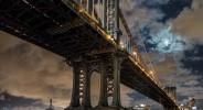 NYC, Manhattan bridge, full moon, east river